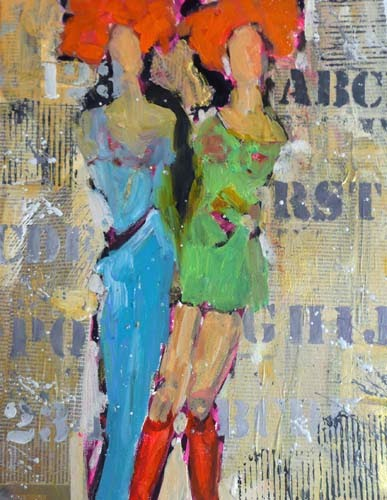 """""""Connie and Nancy Visit Bobland   SOLD 11034"""" original fine art by Nancy Standlee"""
