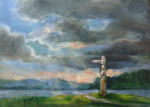 """""""Unsettled Skies"""" original fine art by Robin Peterson"""