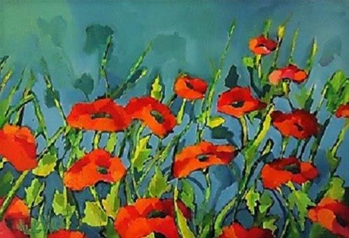 """Poppy Pals"" original fine art by Laurie Mueller"