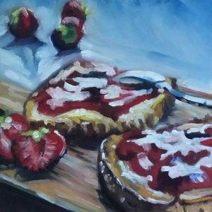 """Erdbeermarmeladenbrot"" original fine art by Sonja Neumann"
