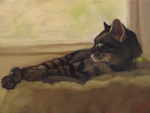 """The Long Wait reclining tabby cat painting"" original fine art by Diane Hoeptner"