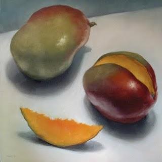 """Sliced Mango (the large version)"" original fine art by Michael Naples"