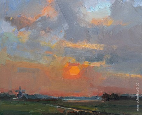 """""""Painting Sunrise and Windmill"""" original fine art by Roos Schuring"""