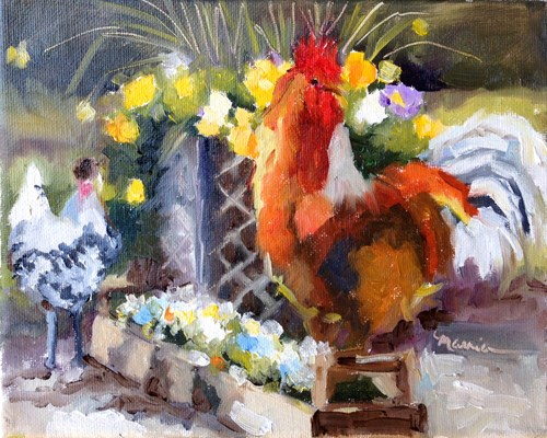 """""""A Rooster Named Ricky"""" original fine art by Marcia Hodges"""