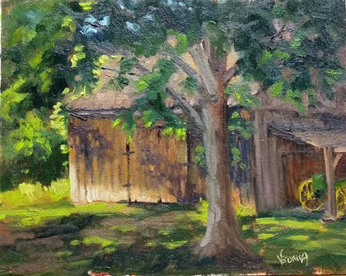 """""""Barn Shadows-en plein air"""" original fine art by Veronica Brown"""
