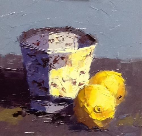 """""""Lemons and cup"""" original fine art by Elaine Ford"""