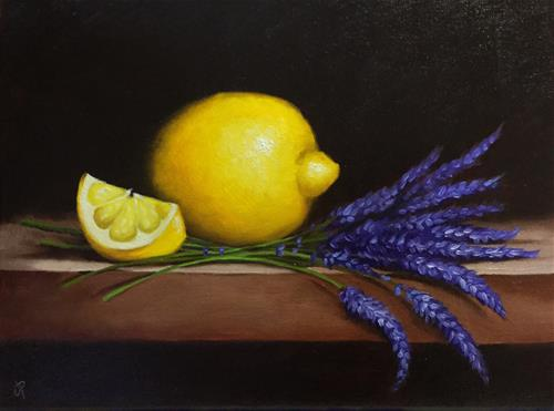 """Lemons with Lavender"" original fine art by Jane Palmer"