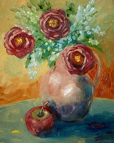 """Burgandy Roses"" original fine art by Sunny Williams"