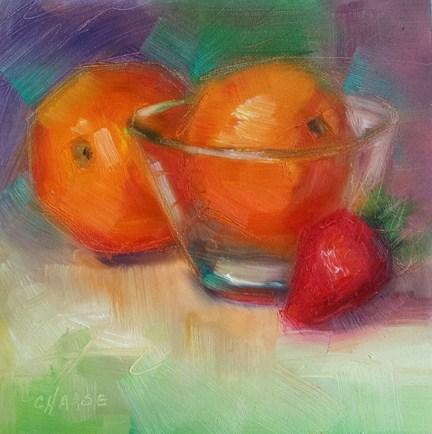"""Orange in a Glass Bowl"" original fine art by Cindy Haase"