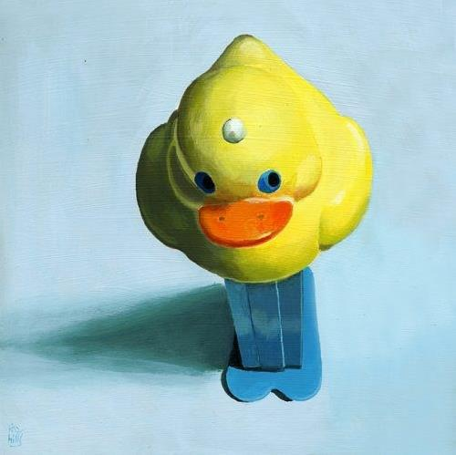 """Yellow Chick Pez Dispenser painting"" original fine art by Ria Hills"