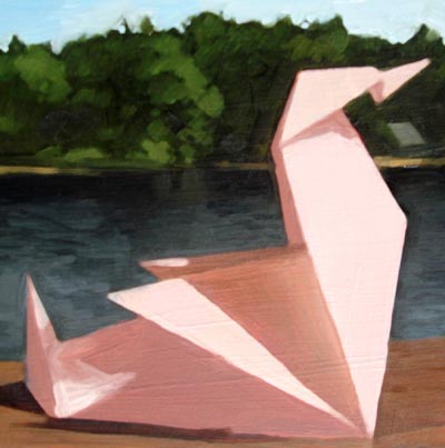 """Origami Swan On Lake Monagnoc"" original fine art by Michael William"
