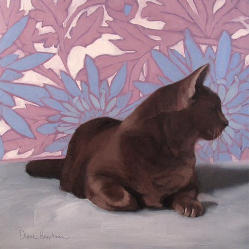 """Blooming Alert distracted cat on pastel floral"" original fine art by Diane Hoeptner"