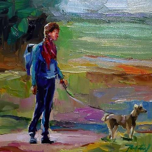 """mit dem Hund"" original fine art by Jurij Frey"
