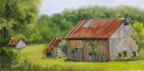 """Gasconade County barn 2-en plein air"" original fine art by Veronica Brown"