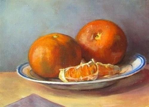 """""""22 - Clementines and Plate"""" original fine art by Ed Watson"""