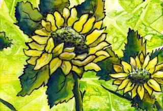"""""""Sunflowers"""" original fine art by Kara Butler English"""