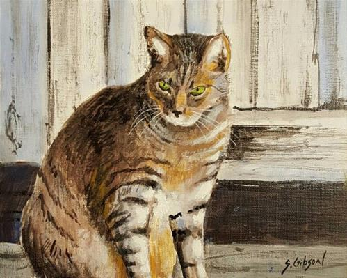 """Cunninghams Barn Cat"" original fine art by Steve Gibson"