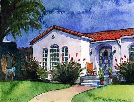 """""""Watercolor: 275 Orange (Coronado, CA)"""" original fine art by Belinda Del Pesco"""