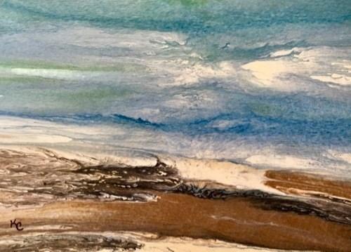 """Ocean, Abstract Seascape Painting, Beach, Coastal Art Beach Bash Sale #29 by International Contemp"" original fine art by Kimberly Conrad"