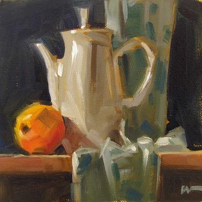 """Morning Tea --- SOLD"" original fine art by Carol Marine"