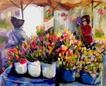 """Flower Market Day"" original fine art by Maggie Flatley"