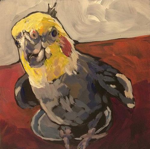 """""""March 7, Greybird"""" original fine art by Kat Corrigan"""