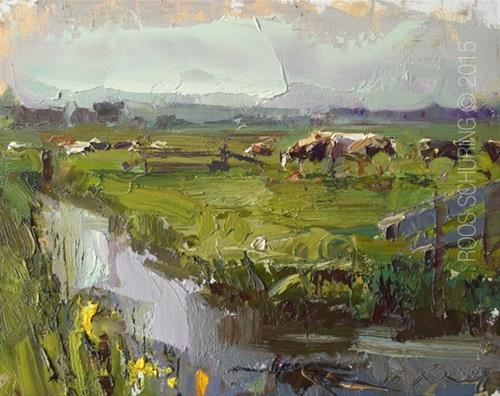 """""""Morning Impression and Cows"""" original fine art by Roos Schuring"""
