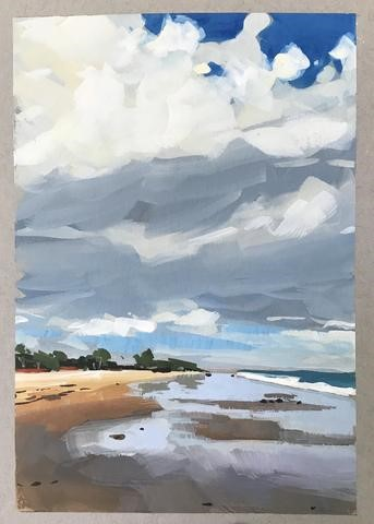 """October, Carpinteria Beach"" original fine art by Sharon Schock"
