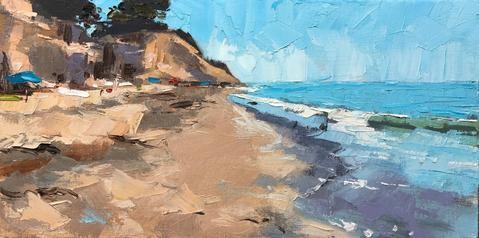 """""""Loon Beach 8x16"""" original fine art by Sharon Schock"""