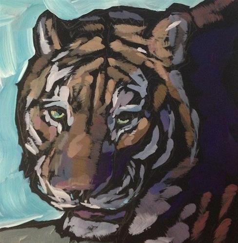 """Here Kitty Kitty"" original fine art by Kat Corrigan"
