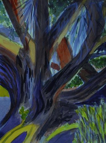 """Tree In A Tangle"" original fine art by Donna Crosby"