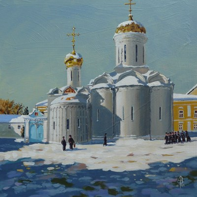 """Trinity Cathedral, St Sergius monastery, near Moscow"" original fine art by Alix Baker PCAFAS AUA"