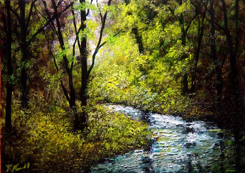 """""""River in the Woods"""" original fine art by Bob Kimball"""