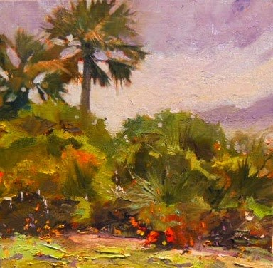 """Palms on Anastasia Island  St Augustine, plein air, oil painting by Robin Weiss"" original fine art by Robin Weiss"