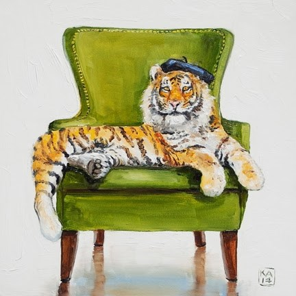 """""""hold that tiger"""" original fine art by Kimberly Applegate"""