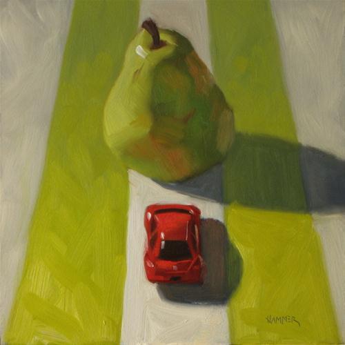 """Road Block 6x6  oil on panel"" original fine art by Claudia Hammer"
