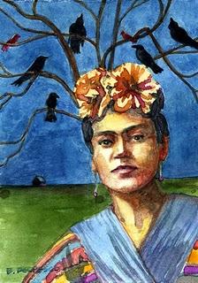 """Watercolor: Frida with a Tree of Crows"" original fine art by Belinda Del Pesco"