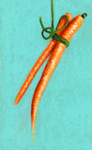 """two carrots"" original fine art by Ria Hills"