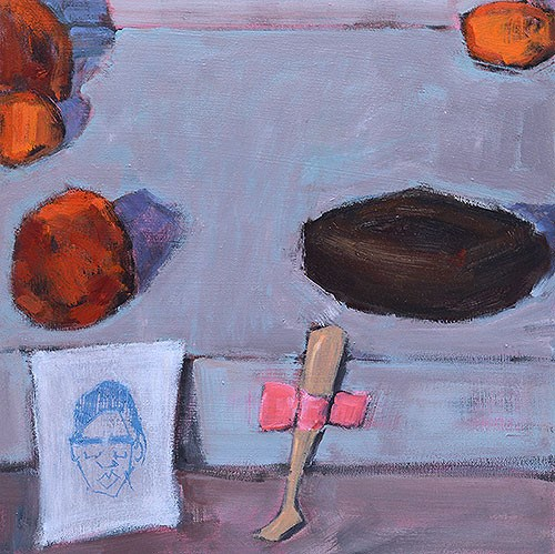 """Still Life With Citrus, Doll Leg, Donut, and Rihanna"" original fine art by Kevin Inman"