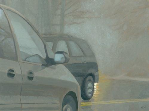 """Fog and Rain on the Road"" original fine art by Nancy Herman"