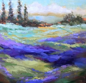 """A French Retreat and Lavenders in Bloom"" original fine art by Nancy Medina"