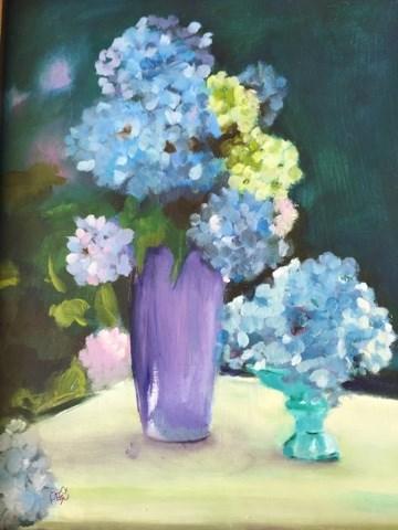 """Blue Hydrageas"" original fine art by Peggy Schumm"