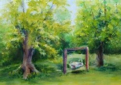 """Gentler Times, 5 x 7 landscape, acrylic on gesso panel"" original fine art by Donna Pierce-Clark"