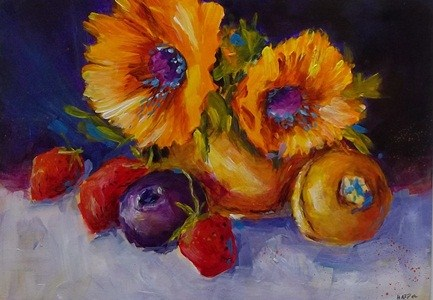 """Sunflowers and Copper Pot"" original fine art by Alice Harpel"