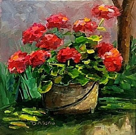 """""""Frayssinet Geraniums"""" original fine art by Diane Plaisted"""