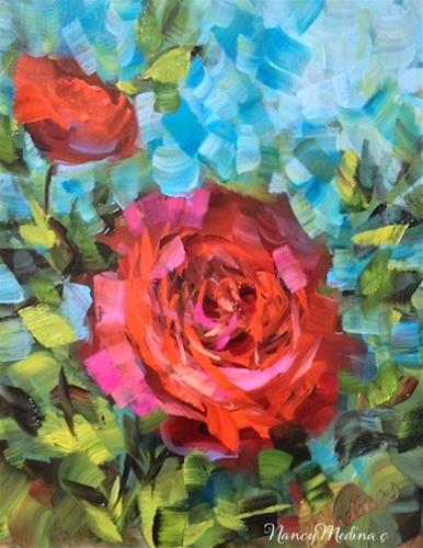 """Rosy Sunday Red Rose and No More Monday Morning Commute by Texas Flower Artist Nancy Medina"" original fine art by Nancy Medina"