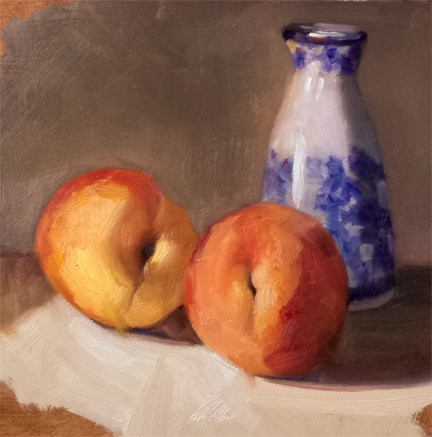 """""""Peaches and Sake Pitcher"""" original fine art by Cindy Haase"""