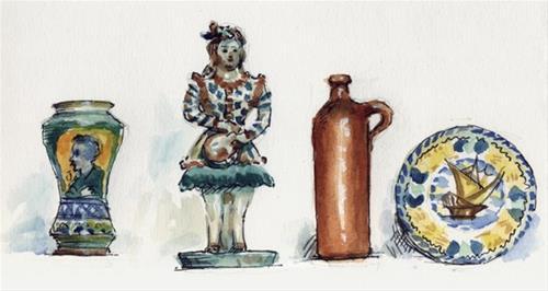"""Watercolor sketches of ceramics"" original fine art by Kathy Weber"