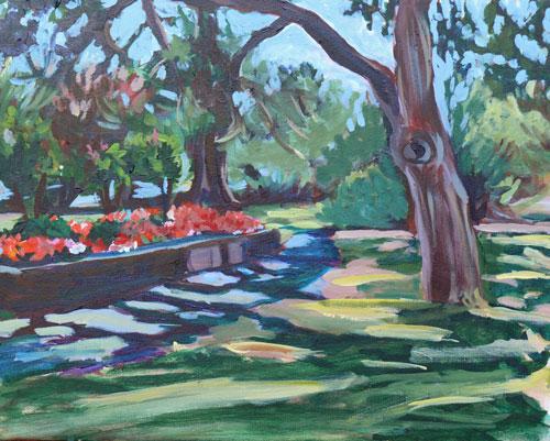 """Beacon Hill Park Scene, acrylic on canvas, 16x20"" original fine art by Darlene Young"