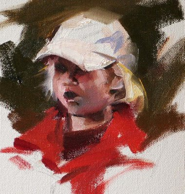 """""""A Little Girl in Red"""" original fine art by Qiang Huang"""